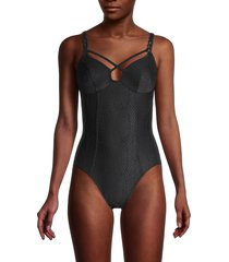 robin piccone women's eve one-piece swimsuit - black - size 6