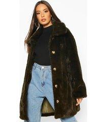 oversized collared faux fur coat, khaki