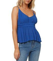 women's o'neill kelby woven tank top, size large - blue