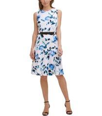 karl lagerfeld paris printed scuba crepe fit & flare dress