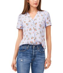 1.state printed puff-sleeve blouse