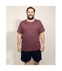 pijama masculino plus size com listras manga curta vinho