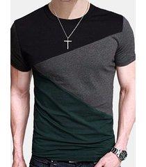 magliette casual da uomo slim fit con cuciture cucite color patchwork traspiranti