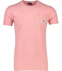 diesel t-shirt roze met borstzak