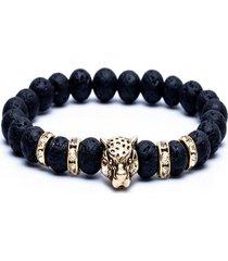 pulsera de cuentas de cabeza de leopardo redonda de piedra natural para hombre