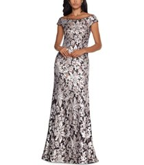 xscape patterned-sequin gown