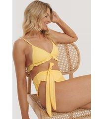 na-kd swimwear bikinitrosa med hög midja - yellow