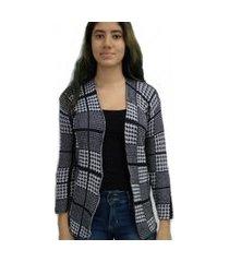 casaqueto bon alongado em tricô vazado preto e branco