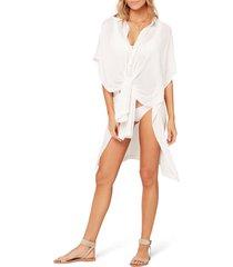 women's l space anita cover-up shirtdress, size medium/large - white