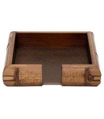 porta guardanapo quadrado de madeira - marrom