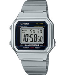 casio men's digital vintage stainless steel bracelet watch 43.1mm
