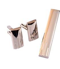 set de mancornas + pisa corbatas traje caballero importadas acero inox