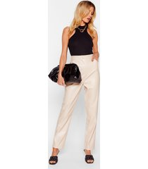 womens faux leather miss a thing tapered pants - ecru