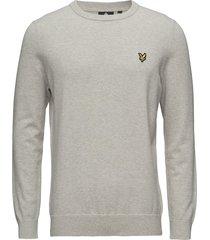 cotton crew neck jumper stickad tröja m. rund krage grå lyle & scott