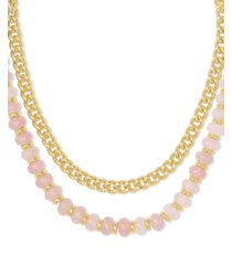 """kendra scott 14k gold-plated link & genuine stone beaded layered necklace, 16"""" + 2"""" extender"""