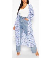 plus paisley long sleeve kimono, blue