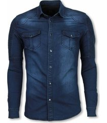 t-shirt true rise biker denim shirt - slim fit ribbel schoulder -