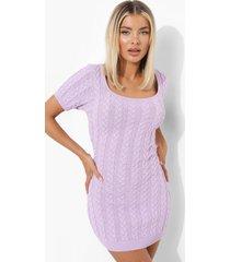 grof gebreide jurk met korte mouwen, lilac