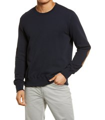 men's billy reid dover terry crewneck sweater with leather elbow patches, size xx-large - blue