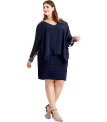 betsy & adam plus size cold-shoulder popover dress
