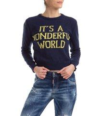 maglione maglia donna girocollo it s a wonderful world