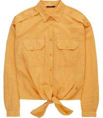 knotted boxy worker blouse mandarine