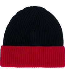 altea colour block ribbed knit hat - blue