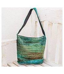 bamboo chenille shoulder bag, 'jade magic' (guatemala)