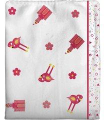cobertor incomfral coelinha para bebê 70 x 90cm branco/rosa - kanui