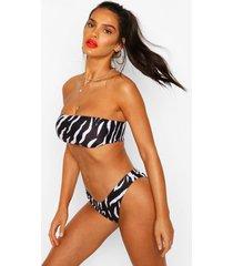 zebra print bandeau high leg bikini, black