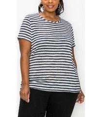 coin 1804 plus size stripe short sleeve button back t-shirt