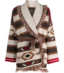 alanui fringed belted cardi-coat - brown