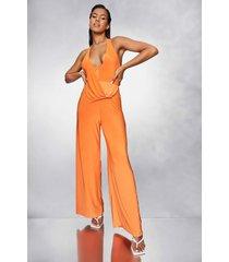 strakke wide leg jumpsuit met halter neck, orange