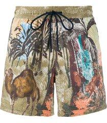etro animals print swim shorts - brown