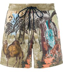 etro animals print swim shorts - brown