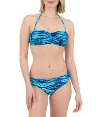 nine west women's animal-print bandeau bikini top - blue tiger - size xl