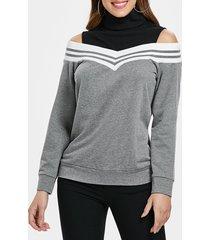 elastic striped brim shoulder cut panel sweatshirt