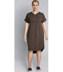 lane bryant women's livi hoodie dress with crochet trim 18/20 black olive