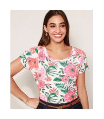 camiseta feminina ampla estampada floral manga curta decote redondo off white