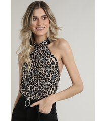 body feminino blusê frente única estampado animal print onça com borboletas bege