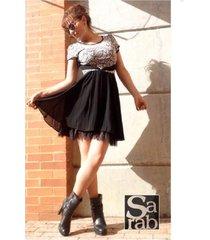 vestido de falda con vuelo manga corta -sarab- negro/ estampado