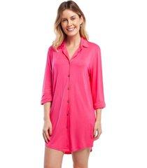 camisão feminino aberto manga longa pink