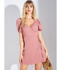 vestido de mangas abullonadas con diseño de lazo rosa de yoins