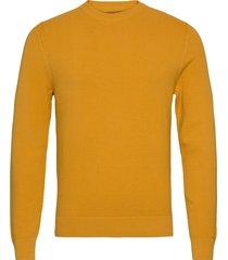 andy structure c-neck sweater stickad tröja m. rund krage orange j. lindeberg