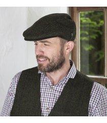 irish wool trinity flat cap green large