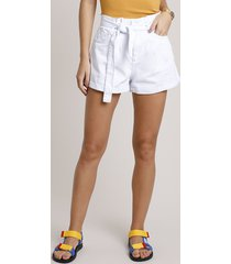 short de sarja feminino clochard cintura super alta com faixa para amarrar branco