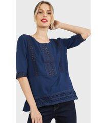blusón tentation crochet azul - calce holgado