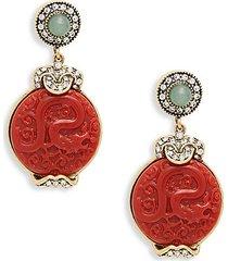 goldtone, crystal & resin drop earrings