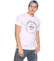 camiseta blanco-azul-naranja jack & jones
