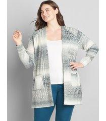 lane bryant women's spacedye open-front cardigan 22/24 white and grey spacedye